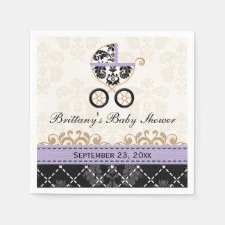 Lavender Damask Carriage Baby Shower Paper Napkin