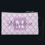 "Lavender Damask Clutch Cosmetic Bag with Monogram<br><div class=""desc"">This beautiful mini clutch purse or cosmetic bag features a classic white damask pattern over a lavender or dusty purple background. The design is personalized with a monogram initial letter as well as a customizable name giving it a simple yet elegant style. Great for carrying makeup or other personal items....</div>"