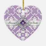 Lavender Damask Jewel Wedding Keepsake Ornament