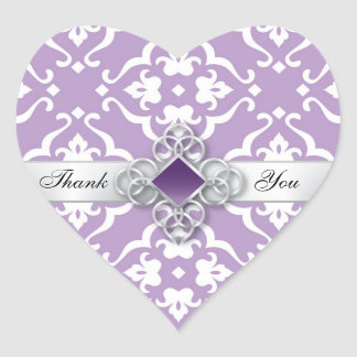 Lavender Damask Jewel Wedding Heart Sticker