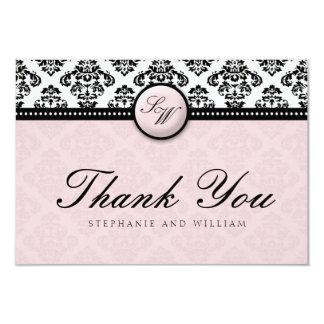 Lavender Damask Monogram Wedding Thank You Card