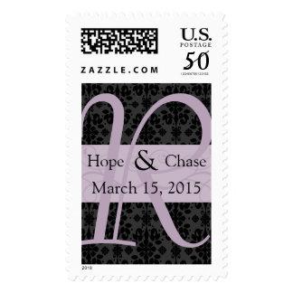 Lavender Damask Monograml Wedding Stamp