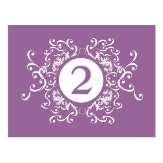 Lavender Damask Table Number Card