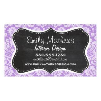 Lavender Damask; Vintage Chalkboard look Business Card Template