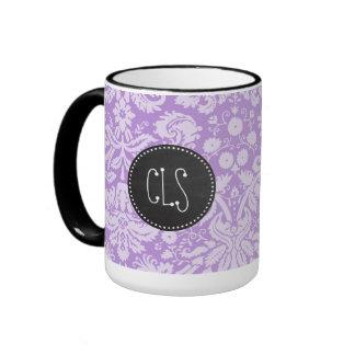 Lavender Damask; Vintage Chalkboard look Ringer Coffee Mug