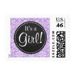 Lavender Damask; Vintage Chalkboard look Postage Stamp