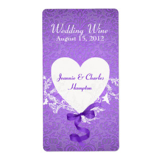 Lavender Damask Wedding Mini Wine Label