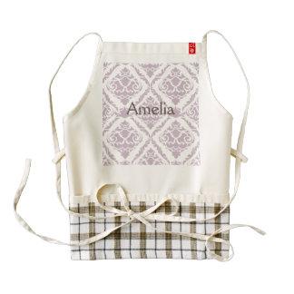 lavender,damasks,pattern,vintage,victorian,shab zazzle HEART apron