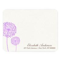 Lavender Dandelions Flat Note Cards