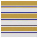 [ Thumbnail: Lavender, Dark Goldenrod & Blue Lines Pattern Fabric ]