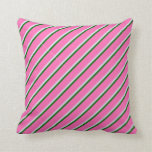 [ Thumbnail: Lavender, Dark Green, and Hot Pink Colored Lines Throw Pillow ]