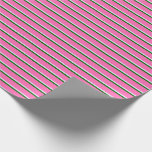 [ Thumbnail: Lavender, Dark Green, and Hot Pink Colored Lines Wrapping Paper ]