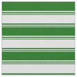 [ Thumbnail: Lavender & Dark Green Stripes Fabric ]