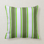 [ Thumbnail: Lavender, Dark Olive Green, and Chartreuse Colored Throw Pillow ]