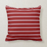 [ Thumbnail: Lavender & Dark Red Colored Lined/Striped Pattern Throw Pillow ]