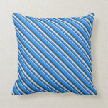 [ Thumbnail: Lavender, Dark Slate Gray, and Blue Colored Lines Throw Pillow ]