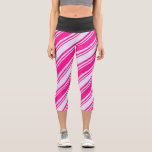 [ Thumbnail: Lavender & Deep Pink Lined Pattern Leggings ]