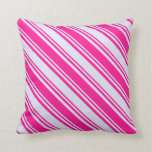 [ Thumbnail: Lavender & Deep Pink Lined Pattern Throw Pillow ]