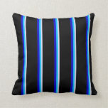 [ Thumbnail: Lavender, Deep Sky Blue, Blue & Black Pattern Throw Pillow ]
