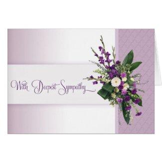 Lavender Deepest Sympathy Flower Bouquet Card