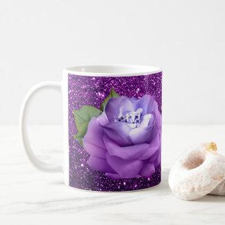 Lavender Diamond Rose Purple Faux Glitter Coffee Mug