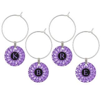 Lavender Diamonds Geometric Design Wine Glass Charm