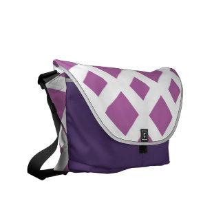 Lavender Diamonds on White Courier Bag