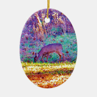 Lavender Doe in a Rainbow Field Christmas Tree Ornament