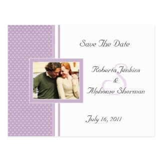 Lavender Dotted Swiss Save The Date Postcard