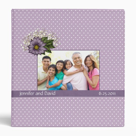 Lavender Dotted Swiss Wedding Album Binder