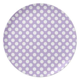 Lavender Dotty Polka Dots Melamine Plate