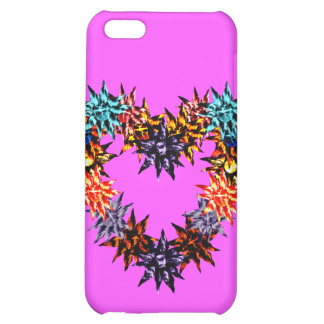 Lavender Dream Monogramed Lava Blooms Heart Cover For iPhone 5C