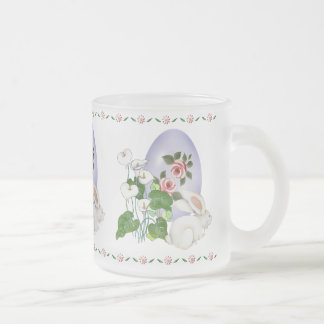 Lavender Egg and White Bunny Frosted Glass Coffee Mug