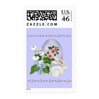 Lavender Egg and White Bunny Postage