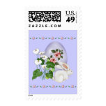 Lavender Egg and White Bunny Postage Stamps