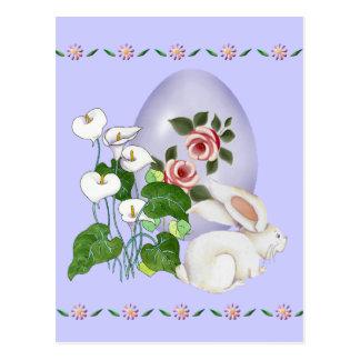 Lavender Egg and White Bunny Postcard