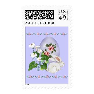 Lavender Egg and White Bunny Stamp