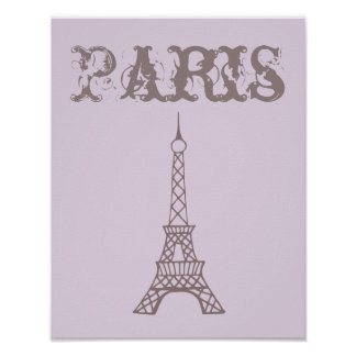 Lavender Eiffel Tower Wall Art Poster Print