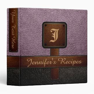 Lavender Elegant Recipe Leather Look Binder