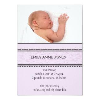 Lavender Elegant Swirl Birth Announcement