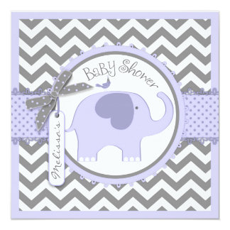 Lavender Elephant and Chevron Print Baby Shower Card