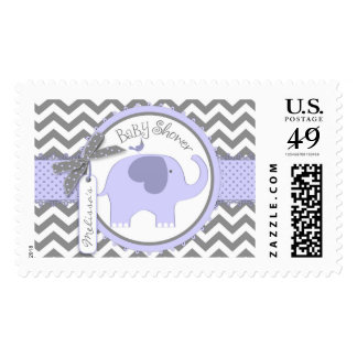 Lavender Elephant and Chevron Print Baby Shower Postage