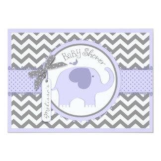 Lavender Elephant Bird Chevron Print Baby Shower Card