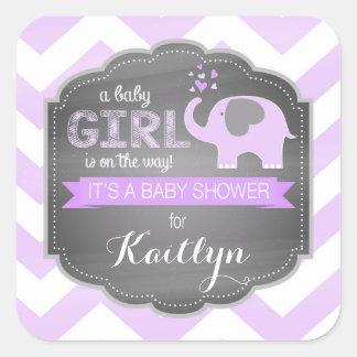 Lavender Elephant Chevron Girl Baby Shower Square Sticker