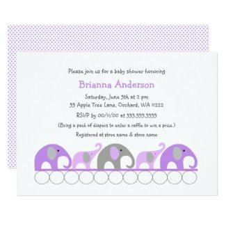 Lavender elephants baby shower / sprinkle invites
