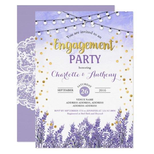 lavender engagement party invitation purple gold zazzle com