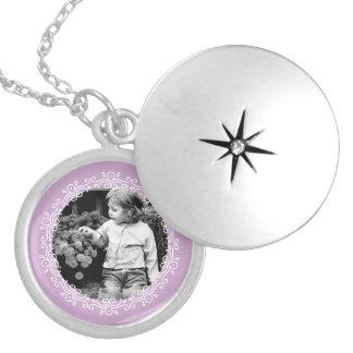 Lavender Fancy Photo Frame Round Locket Necklace