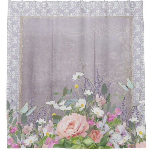 Lavender Farmhouse Country Rustic Floral Peonies Shower Curtain