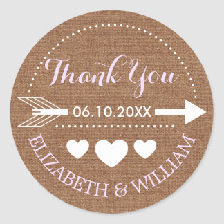 Lavender & Faux Burlap Wedding Thanks Arrow Heart Classic Round Sticker