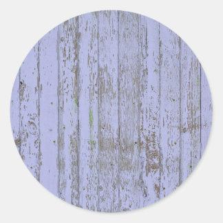 Lavender Faux Wood Texture Round Sticker